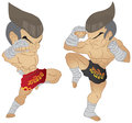 Muay thai fighting fighter knee strike vs a guarded stance Royalty Free Stock Images