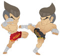 Muay thai fighting fighter knee strike vs roundhouse kick Stock Photography