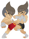 Muay thai fighting hight kick vs elbow strike and knee strike Royalty Free Stock Image