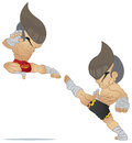Muay thai fighting jump kick vs high kick Royalty Free Stock Image