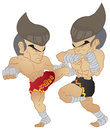 Muay thai fighting roundhouse kick vs elbow strike and knee strike Royalty Free Stock Images