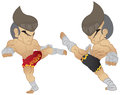 Muay thai fighting roundhouse kick vs high kick Stock Image