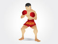 Muay thai gardstand character cartoon and illustration Royalty Free Stock Photography