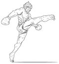 Muay thai hight kick illustration Stock Image