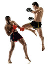 Muay Thai kickboxing kickboxer boxing men isolated Royalty Free Stock Photo