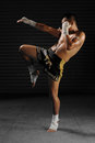 Muay Thai male fighter in actions Royalty Free Stock Photo