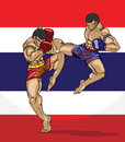 Muay thai martial art vector Stock Photography