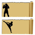 Muay thai silhouette on abstract papyrus paper Stock Images