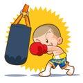 Muaythai sandbag boxing hit