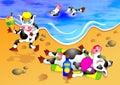 Mucche della spiaggia Fotografie Stock