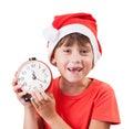 Muchacha bonita en la imagen de Papá Noel Imágenes de archivo libres de regalías