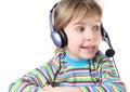 Muchacha con los auriculares y el micrófono Imagen de archivo libre de regalías