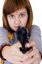 Muchacha con un arma Imagen de archivo libre de regalías