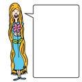 Muchacha de pelo largo con la flor Foto de archivo libre de regalías