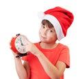 Muchacha en la imagen de Papá Noel Imagen de archivo libre de regalías