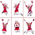Muchacha feliz con el salto del traje de santa Fotografía de archivo