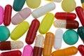 Muchas diversas tablillas y medicinas coloreadas Imagenes de archivo