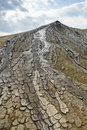 Mud flowing from crater dried the at muddy volcanos buzau romania Stock Photos