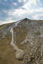 Mud flowing from crater dried the at muddy volcanos buzau romania Royalty Free Stock Images