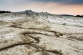 Mud volcano and cracked earth in romania Stock Image