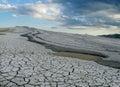 Mud volcano erupting with dirt, vulcanii Noroiosi in Buzau, Romania