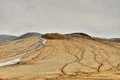 Mud volcanoes muddy landscape from buzau romania Stock Photography