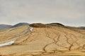 Mud volcanoes muddy landscape from buzau romania Stock Photography
