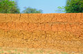 Mud wall old in indian countryside made of clay or Royalty Free Stock Photo