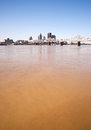 Muddy Ohio River After Flooding Vertical Skyline Louisville Kentucky Royalty Free Stock Photo