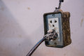 Muddy wall plug modify for using inside public clay pot workshop Stock Images