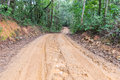Muddy wet countryside road in Chiang Mai, Thailand. Royalty Free Stock Photo