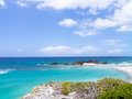 Mudjin harbor on the cliffs overlooking on middle caicos Stock Photo
