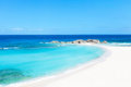Mudjin harbor perfect empty beach middle caicos island Stock Images