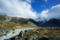 Mueller lake of hooker valley in aoraki mt cook is fed from melting the glacier the mount national park overflow the Royalty Free Stock Photo