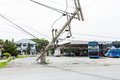 Mueng phuket thailand aug traffic turbulence caused by electricity pole damage on street due to heavy rain disaster on aug in Royalty Free Stock Image