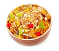 Muesli in bowl isolated Royalty Free Stock Photos