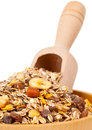 Muesli in bowl with scoop Royalty Free Stock Image