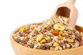 Muesli in bowl with scoop Royalty Free Stock Photography