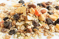 Muesli bran and raisin cereals with dried fruits Royalty Free Stock Image