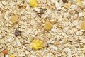 Muesli breakfast background. Organic crunchy homemade cereal with oats and berries. The concept of Healthy eating. Royalty Free Stock Photo