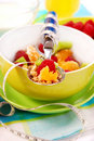 Muesli with fresh fruits as diet food Royalty Free Stock Images