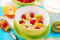 Title: Muesli with fresh fruits as diet food