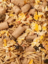 Muesli for horse background close up studio Stock Images