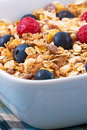 Muesli with Raspberries and Blueberries Royalty Free Stock Photo