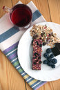 Muesli snack bar, blueberries and berry tea Stock Photo