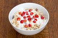 Muesli with yoghurt and wild strawberry Royalty Free Stock Images