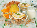 Muesli with yogurt and pear Royalty Free Stock Photo