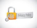 Muestra de la cerradura de la política de privacidad Foto de archivo