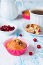 Muffin cranberries pink bakeware Stock Photography