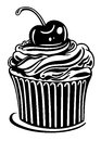 Muffin cupcake with cherry black illustration Royalty Free Stock Photography